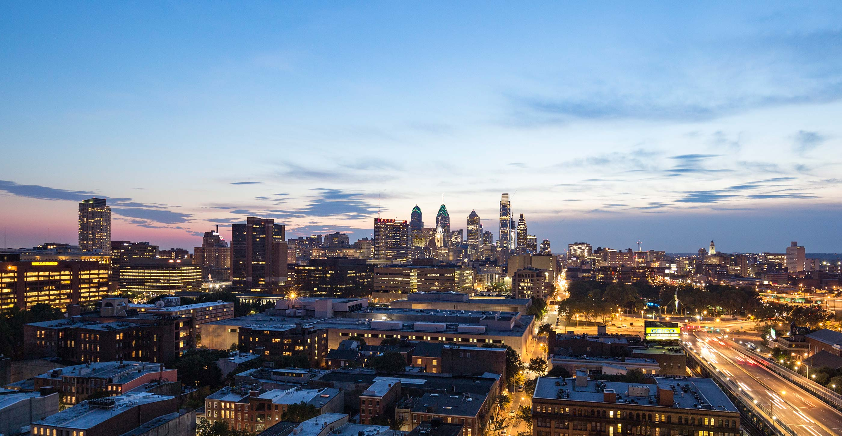 Nighttime view of Old City and downtown Philadelphia skyline
